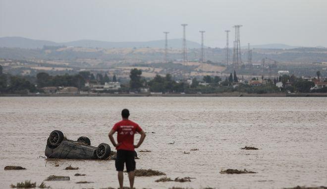 Στιγμιότυπο από την περιοχή Μπούρτζι της Εύβοιας που επλήγη από καταστροφικές πλημμύρες