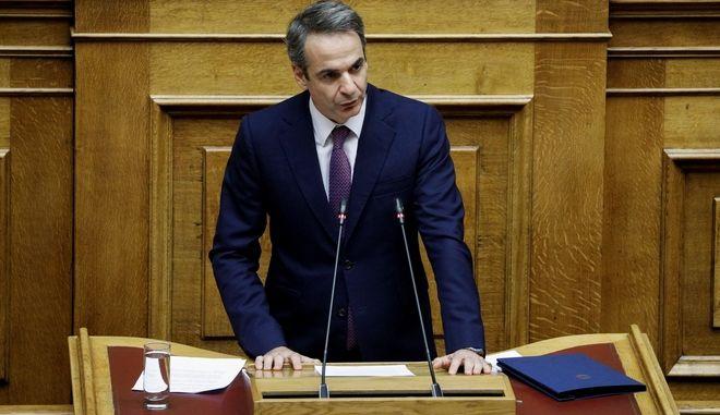 Ο Κυριάκος Μητσοτάκης στη συζήτηση στη Βουλή για την ψήφο των αποδήμων.