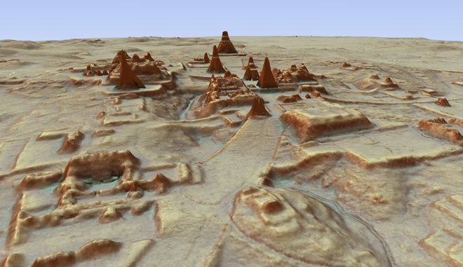 This digital 3D image provided by Guatemala's Mayan Heritage and Nature Foundation, PACUNAM, shows a depiction of the Mayan archaeological site at Tikal in Guatemala created using LiDAR aerial mapping technology. Researchers announced Thursday, Feb. 1, 2018, that using a high-tech aerial mapping technique they have found tens of thousands of previously undetected Mayan houses, buildings, defense works and roads in the dense jungle of Guatemala's Peten region, suggesting that millions more people lived there than previously thought. (Canuto & Auld-Thomas/PACUNAM via AP)