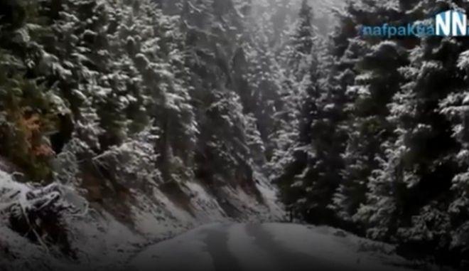 Βίντεο: Χιονίζει στην ορεινή Ναυπακτία