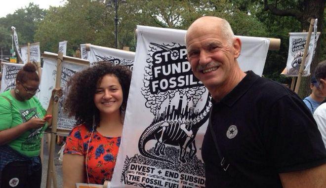 Ο Γ. Παπανδρέου διαδήλωσε για την κλιματική αλλαγή στη Νέα Υόρκη