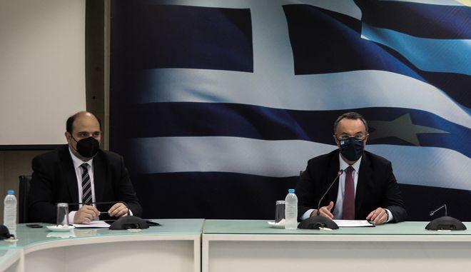 Κοινές δηλώσεις από τον Υπουργό Οικονομικών Χρήστο Σταϊκούρα με τον  Γενικό Γραμματέα Οικονομικής Πολιτικής Χρήστο Τριαντόπουλο
