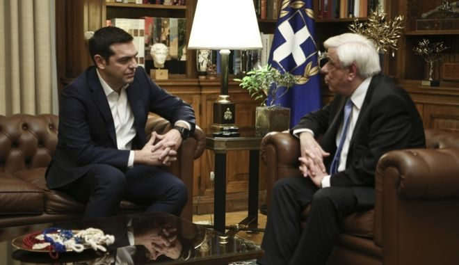 The greek Prime Minister Alexis Tsipras visits the President of Democracy Prokopis Pavlopoulos, at the Presidential Mansion, in Athens, on Jan. 26, 2018 /          ,   , , 26 , 2018