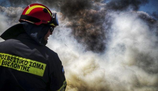Άνδρας της πυροσβεστικής κατά τη δασοπυρόσβεση (ΦΩΤΟ ΑΡΧΕΙΟΥ)
