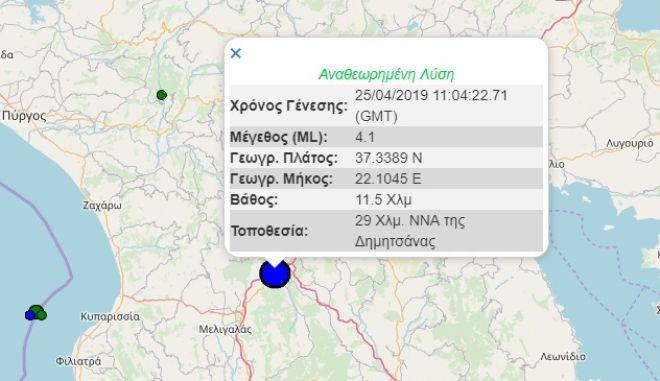 Σεισμός Δημητσάνα - Μέτρηση Γεωδυναμικού Ινστιτούτου Αθηνών