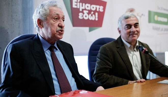 Leader of Democratic Left political party, Fotis Kouvelis delivers speech at the City Hall of Thessaloniki in the presence of Vassilis Vassilikos and Nikos Chrisogelos of Eco Greens on January 17, 2015. /                        17  2015.