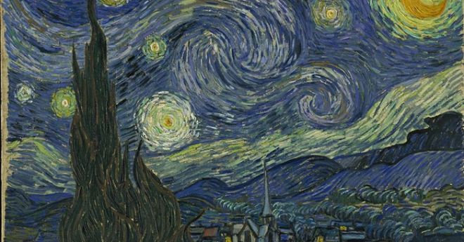 Gogh, Vincent van (1853-1890): The Starry Night. (1889). New York, Museum of Modern Art (MoMA) Oil on canvas, 29x36 +ö (73,7x92,1 cm). Acquired through the Lillie P. Bliss Bequest. 472.19*** Permission for usage must be provided in writing from Scala. May have restrictions - please contact Scala for details. ***