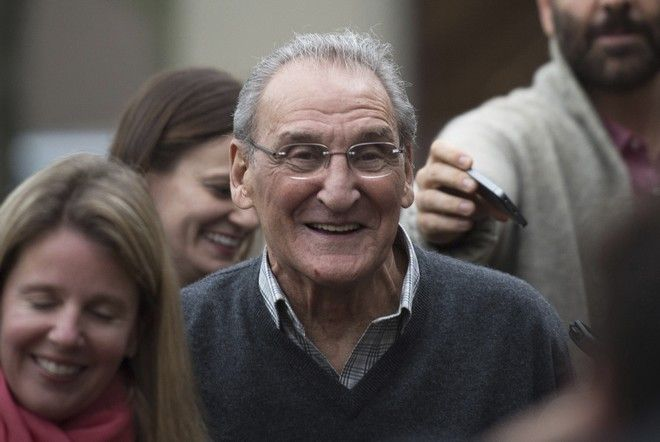 FILE - In this Nov. 12, 2015 file photo, Vincent Asaro leaves Brooklyn federal court in New York after beating charges that he helped plan the legendary 1978 Lufthansa heist retold in the hit film