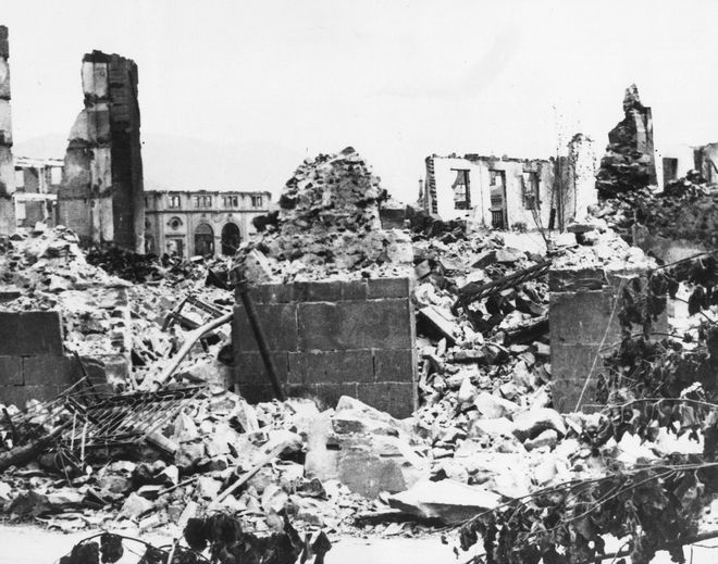 Devastiation in Guernica - This is a typical scene today in this battlescarred city, the ancient capital of the Basques, after its devastation by fire. (07/06/1937)(AP Photo)