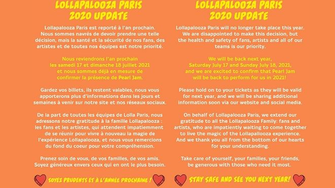 Ακύρωση του Lollapalooza Paris 2020