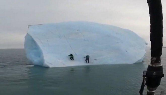 Παγόβουνο αναποδογύρισε πάνω σε εξερευνητές