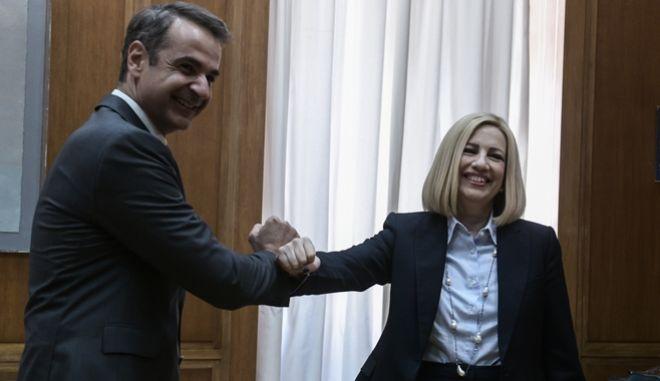 Από συνάντηση του Κυριάκου Μητσοτάκη με την Φώφη Γεννηματά το 2020.