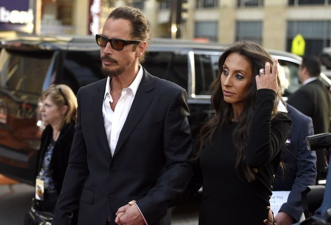 Chris Cornell, left, and Vicky Karayiannis arrive at the U.S. premiere of