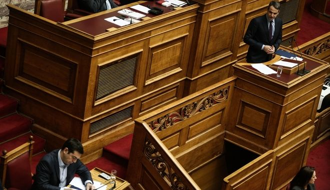 Greek Prime Minister Alexis Tsipras, answering questions about criminality, at the parliament plenum, in Athens, on Feb. 17, 2017 /              ,  17 , 2017