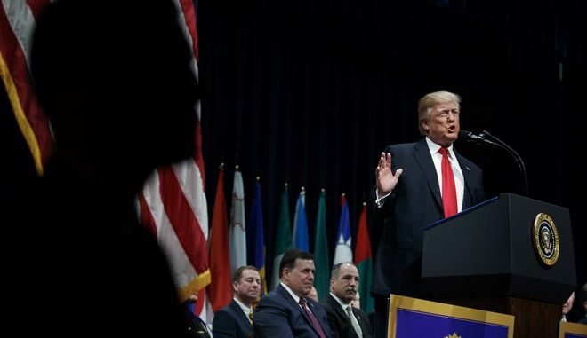 President Donald Trump speaks during the FBI National Academy graduation ceremony, Friday, Dec. 15, 2017, in Quantico, Va. (AP Photo/Evan Vucci)