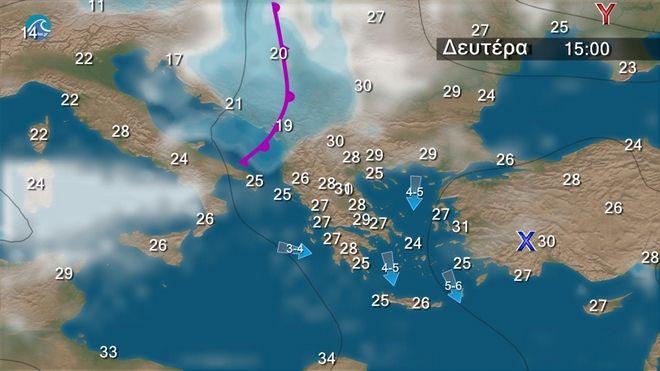 Άνεμοι έως 6 μποφόρ - Κανονικές θερμοκρασίες και λίγες τοπικές βροχές