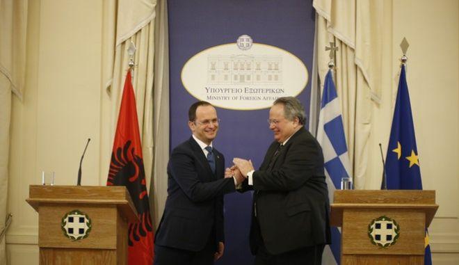 Συνάντηση ΥΠΕΞ, Ν. Κοτζιά, με Υπουργό Εξωτερικών Αλβανίας, D. Bushati.(Eurokinissi-ΣΤΕΛΙΟΣ ΜΙΣΙΝΑΣ)