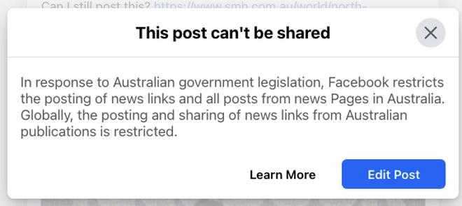 Όποιος προσπαθούσε να ποστάρει είδηση (ή να τη 'μοιράσει') έβλεπε αυτό.