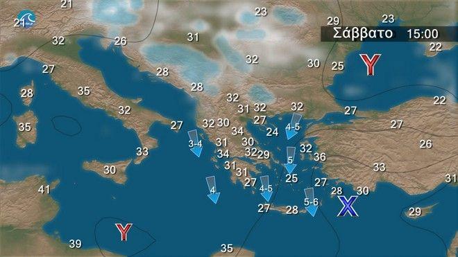 Σχεδόν αίθριος καιρός με μελτέμι έως 7 μποφόρ στο Αιγαίο