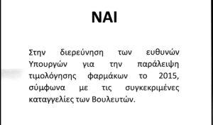 Αυτό είναι το άκυρο ψηφοδέλτιο της ΔΗΣΥ για την προανακριτική της ΝΔ