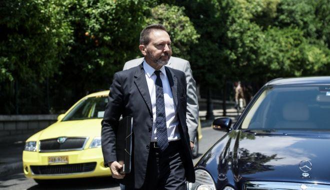 Συνάντηση του πρωθυπουργού Κυριάκου Μητσοτάκη με τον Διοικητή της Τράπεζας της Ελλάδας, στο Μέγαρο Μαξίμου