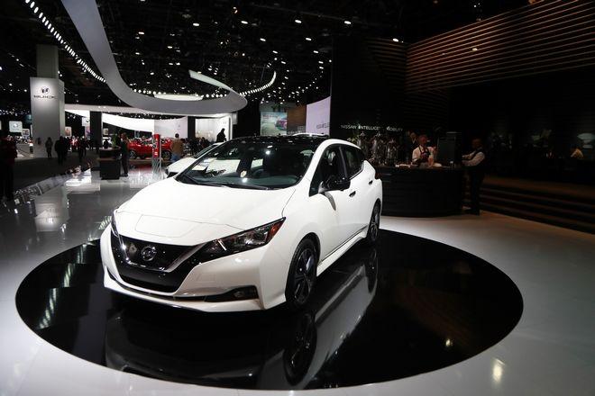 Το Nissan Leaf σε έκθεση αυτοκινήτου στη Βόρεια Αμερική το 2018