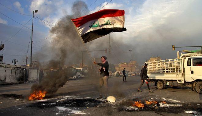 Από διαδήλωση στο Ιράκ για τις ιρανικές επιθέσεις.