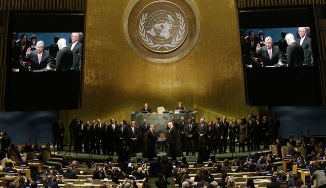 The United Nations Secretary-General designate Antonio Guterres is sworn in at U.N. headquarters, Monday, Dec. 12, 2016, becoming the ninth U.N. chief in the body's 71-year history. (AP Photo/Seth Wenig)
