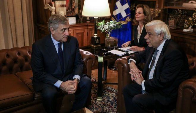 Ο Πρόεδρος της Δημοκρατίας Προκόπης Παυλόπουλος με τον πρόεδρο της επιτροπής Συνταγματικών Υποθέσεων του Ευρωπαϊκού Κοινοβουλίου Αντόνιο Ταγιάνι