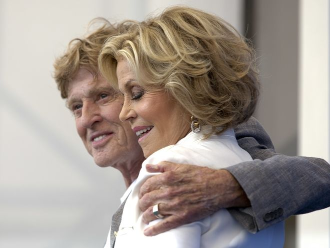 Actor Robert Redford, left, and Jane Fonda pose during the photo call for the film