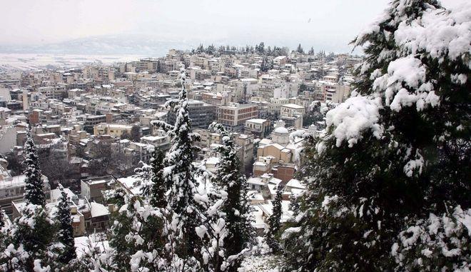 Το χιόνι που έχει πέσει στο κέντρο της Λαμίας ξεπερνά τα 10 εκατοστά, το πρωί της Πέμπτης 2 Φεβρουαρίου 2012. Η συγκοινωνία γύρω από την πόλη εξελίσσεται με δυσκολία και στις περισσότερες περιπτώσεις μόνο με αλυσίδες, ενώ μέσα στην Λαμία τα μηχανήματα του δήμου διατηρούν ανοιχτούς τους κεντρικούς άξονες. (EUROKINISSI // ΣΥΝΕΡΓΑΤΗΣ)