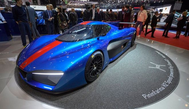 epa06585062 The new Pininfarina H2 Speed car is presented during the press day at the 88th Geneva International Motor Show in Geneva, Switzerland, 06 March 2018. The Motor Show will open its gates to the public from 08 to 18 March presenting more than 180 exhibitors and more than 110 World and European premieres.  EPA/MARTIAL TREZZINI