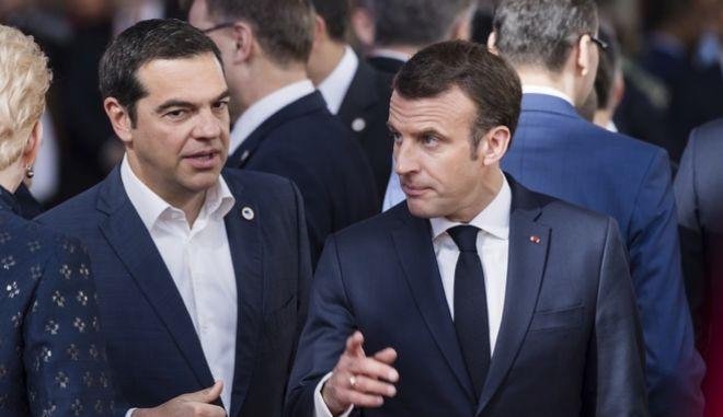 Μακρόν και Τσίπρας στη Σύνοδο Κορυφής
