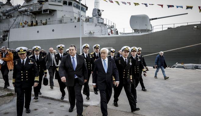 Επίσκεψη του Προέδρου της Δημοκρατίας Προκόπη Παυλόπουλου, στο συγκρότημα του Αρχηγείου Στόλου, στο Ναύσταθμο της Σαλαμίνας, την Τετάρτη 28 Μαρτίου 2018. (EUROKINISSI/ΓΙΩΡΓΟΣ ΚΟΝΤΑΡΙΝΗΣ)