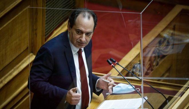 Ο Χρήστος Σπίρτζης στη Βουλή