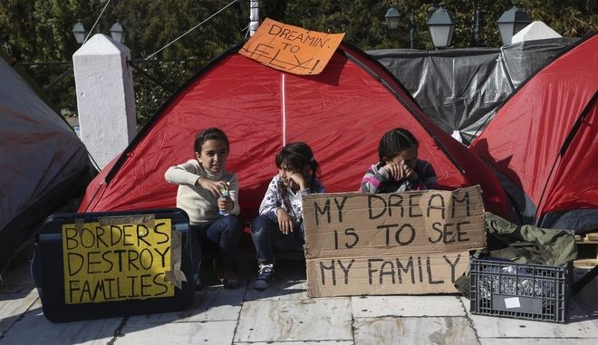 Refugees protest against delays in reuniting with their relatives, mainly in Germany, in front of the Greek parliament, at Syntagma Square, Athens, Greece on November 2, 2017.  /              , , 2  2017.