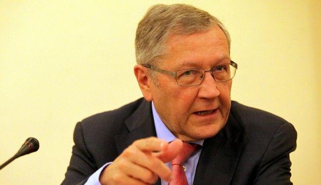 Ο επικεφαλής της ΤτΕ Γιάννης Στουρνάρας με τον διευθύνοντα σύμβουλο του Ευρωπαϊκού Μηχανισμού Σταθερότητας (ESM) Κλάους Ρέγκλινγκ, την Πέμπτη 10 Ιουλίου 2014. (EUROKINISSI/ΓΙΑΝΝΗΣ ΠΑΝΑΓΟΠΟΥΛΟΣ)