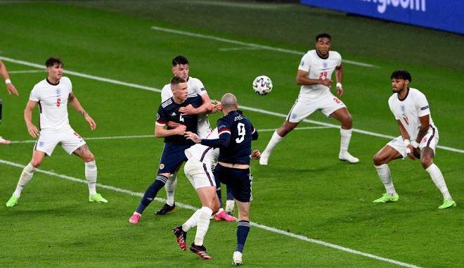 Αγώνας ποδοσφαίρου του Euro 2020 μεταξύ Αγγλίας και Σκωτίας, στο γήπεδο Wembley.