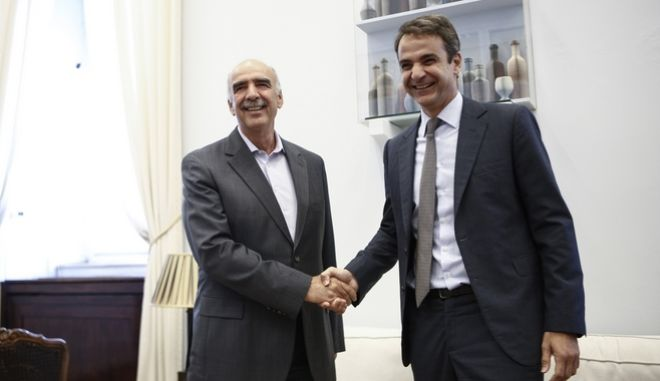 Meeting between the president of New Democracy party, Kyriakos Mitsotakis and the former president of the New Democracy party Vagelis Meimarakis, in Athens, on July 20, 2016 /      ,         ,  ,  ,  20 , 2016