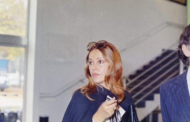 French actress Jeanne Moreau is portrayed at a press conference held on Oct. 14, 1972 to present her new film ?Jeanne the French Girl? made by Brazilian film director Carlos Diegues.   Fashion designer Pierre Cardin also plays in the film. (AP Photo/Cardenas)
