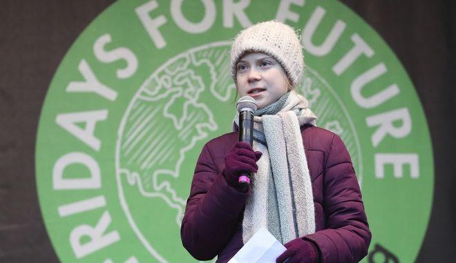 Η Γκρέτα Τούνμπεργκ μιλάει σε πορεία μαθητών για το περιβάλλον