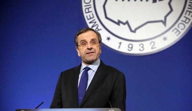 Ομιλία του πρωθυπουργού Αντώνη Σαμαρά στο 24ο Ετήσιο Συνέδριο του Ελληνο-Αμερικανικού Εμπορικού Επιμελητηρίου με θέμα «Η Ώρα της Ελληνικής Οικονομίας», την Τρίτη 3 Δεκεμβρίου 2013. (EUROKINISSI/ΓΕΩΡΓΙΑ ΠΑΝΑΓΟΠΟΥΛΟΥ)