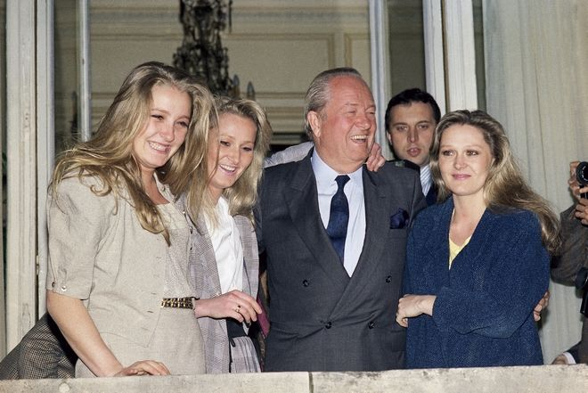 President of the French National Front Jean Marie Le Pen with his daughters Marine, Yann and Marie Caroline, on April 24, 1988. (AP Photo/Olivier Boitet)