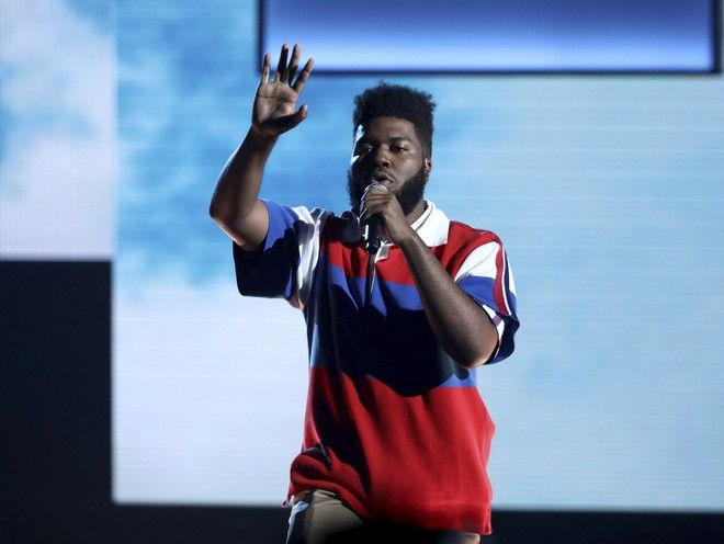 Khalid performs at the American Music Awards at the Microsoft Theater on Sunday, Nov. 19, 2017, in Los Angeles. (Photo by Matt Sayles/Invision/AP)