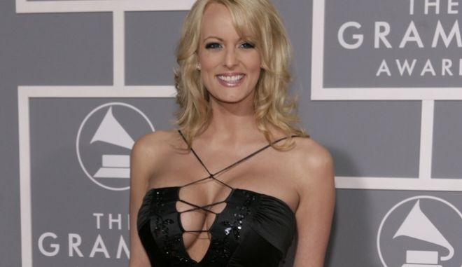 FILE - In this Feb. 11, 2007, file photo, Stormy Daniels arrives for the 49th Annual Grammy Awards in Los Angeles. Daniels who had previously alleged an extramarital affair with Donald Trump now says in a statement the affair never happened. A lawyer for porn actress Stormy Daniels confirmed his clients statement on Jan. 30, 2018. Daniels real name is Stephanie Clifford.(AP Photo/Matt Sayles, File)