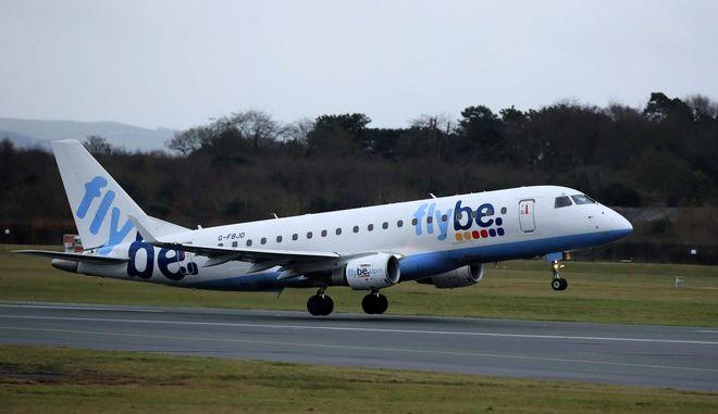 Αεροπλάνο της Flybe στο αεροδρόμιο του Μάντσεστερ