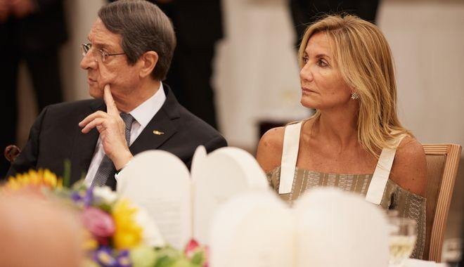 Η σύζυγος του πρωθυπουργού με τον πρόεδρο της Κυπριακής Δημοκρατίας