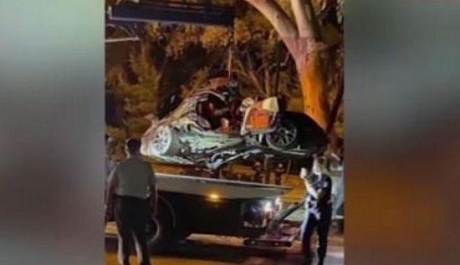 Το όχημα του Mad Clip μετά το τροχαίο που του κόστισε τη ζωή