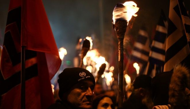 Rally organised by the far right party of Golden Dawn in memory of the three Greek soldiers who were aboard a military helicopter which collapsed at the Greek-Turkish sea borders near the Imia islets in 1996, in Athens, on Jan. 28, 2017 /            ,  ,  28 , 2017