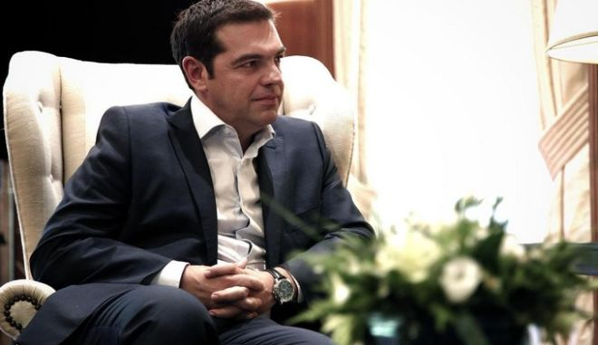 Greek Prime Minister Alexis Tsipras meets the new elected leader of PASOK political party, Fofi Genimata, at Maximos Mansion in Athens, Greece on June 16, 2015. /           ,  ,   16  2015.